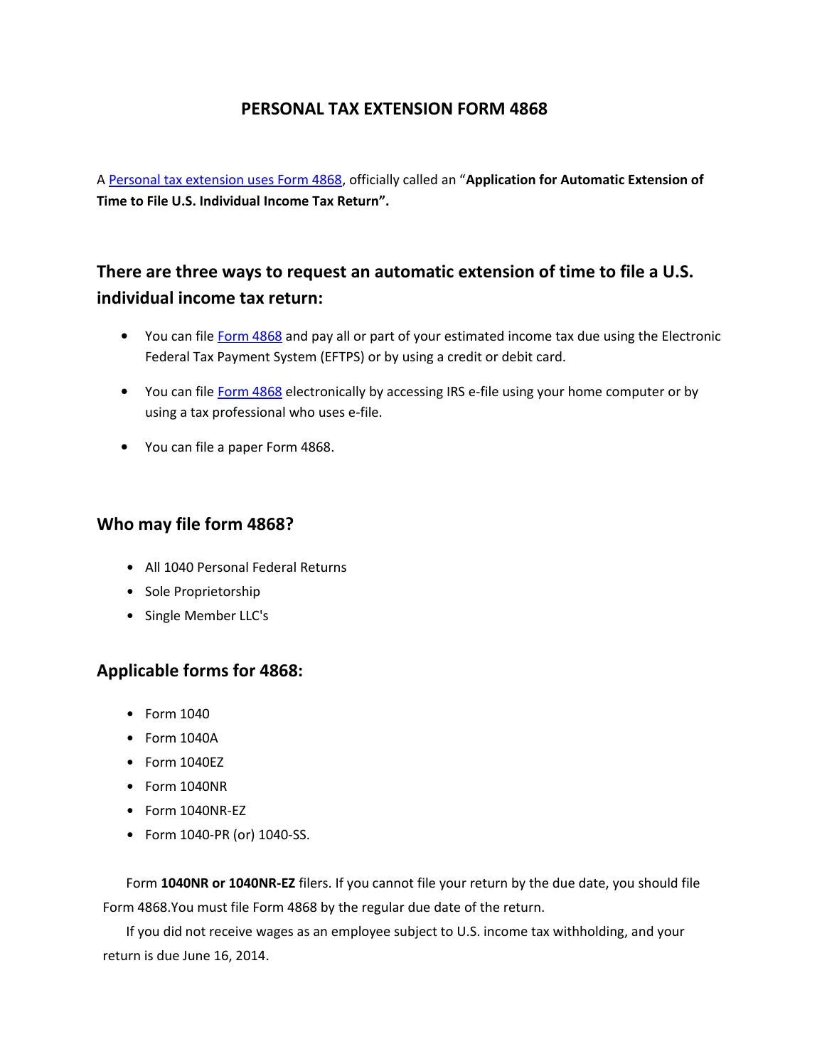 Personal Tax Extension Form 4868 by Express Extension - issuu