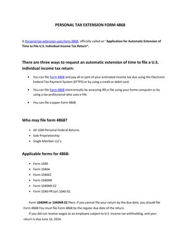 Personal Tax Extension Form 4868 By Express Extension Issuu