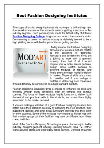 Best Fashion Designing Institutes Of The Country By Sunny Issuu