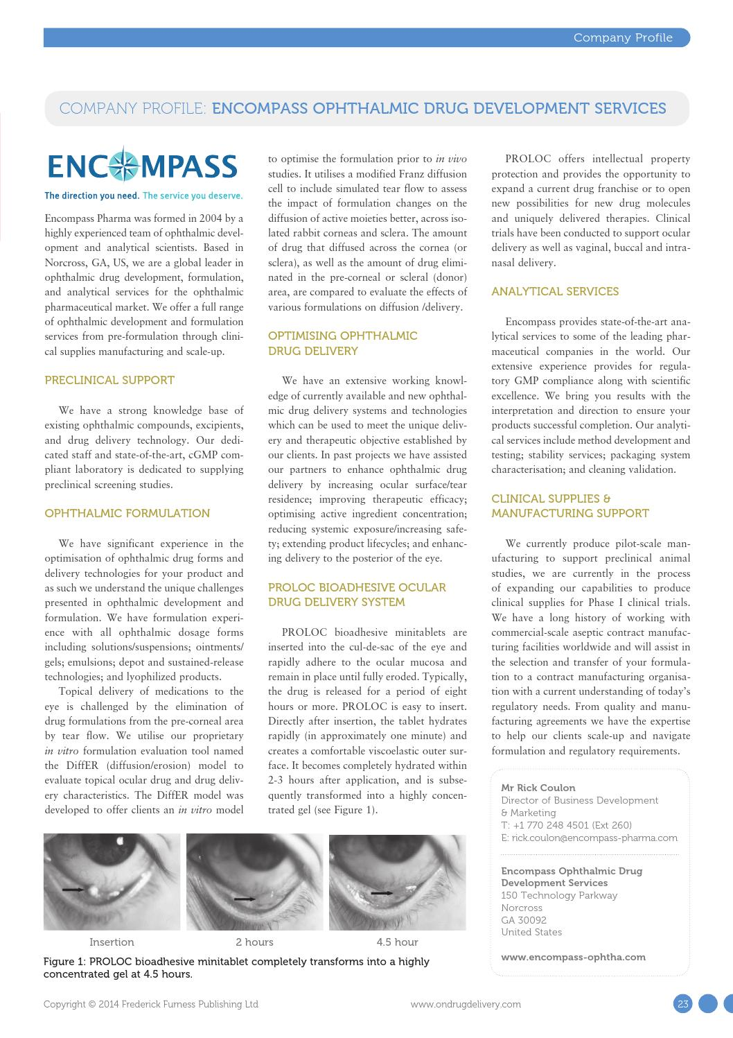 Ophthalmic Drug Delivery: ONdrugDelivery, Issue 48 by