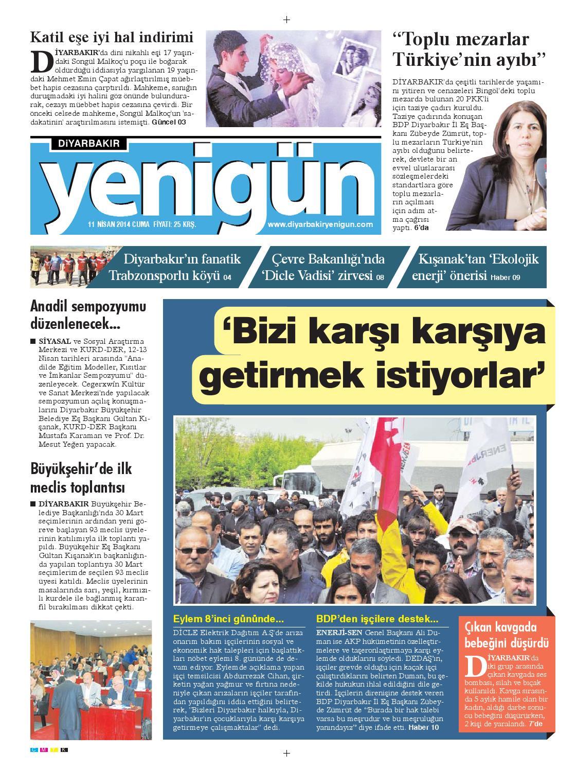 Diyarbakir Yenigun Gazetesi 11 Nisan 2014 By Osman Ergun Issuu