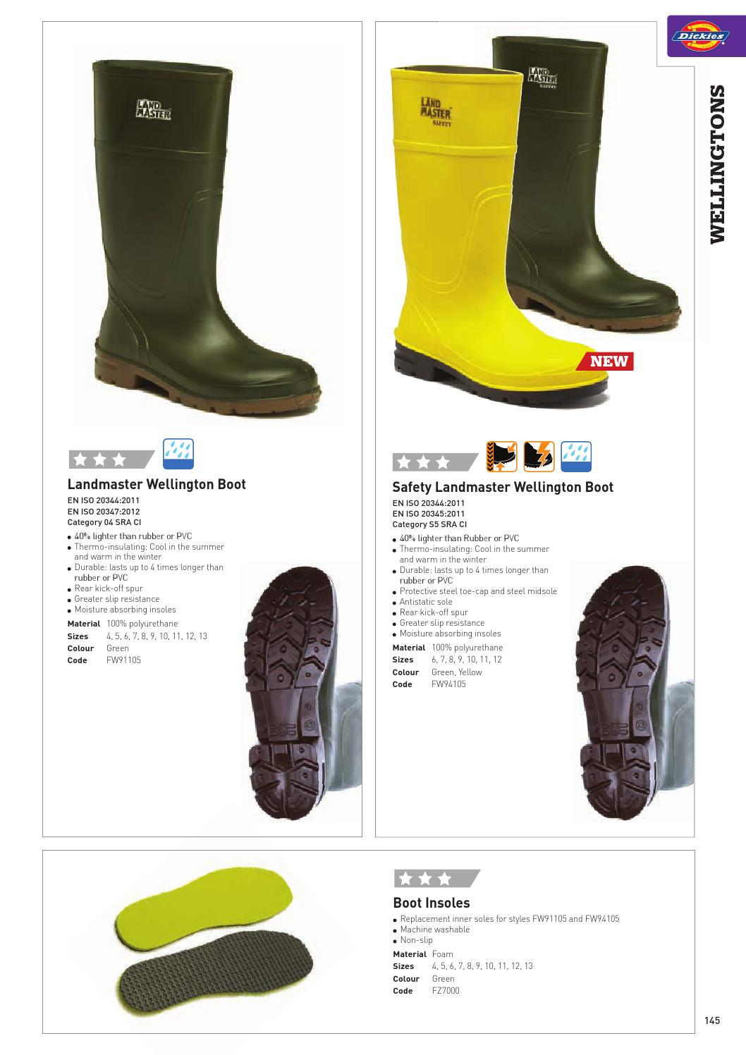 Dickies Landmaster Wellington Boots Boot Shoe Insoles All Sizes  FZ7000