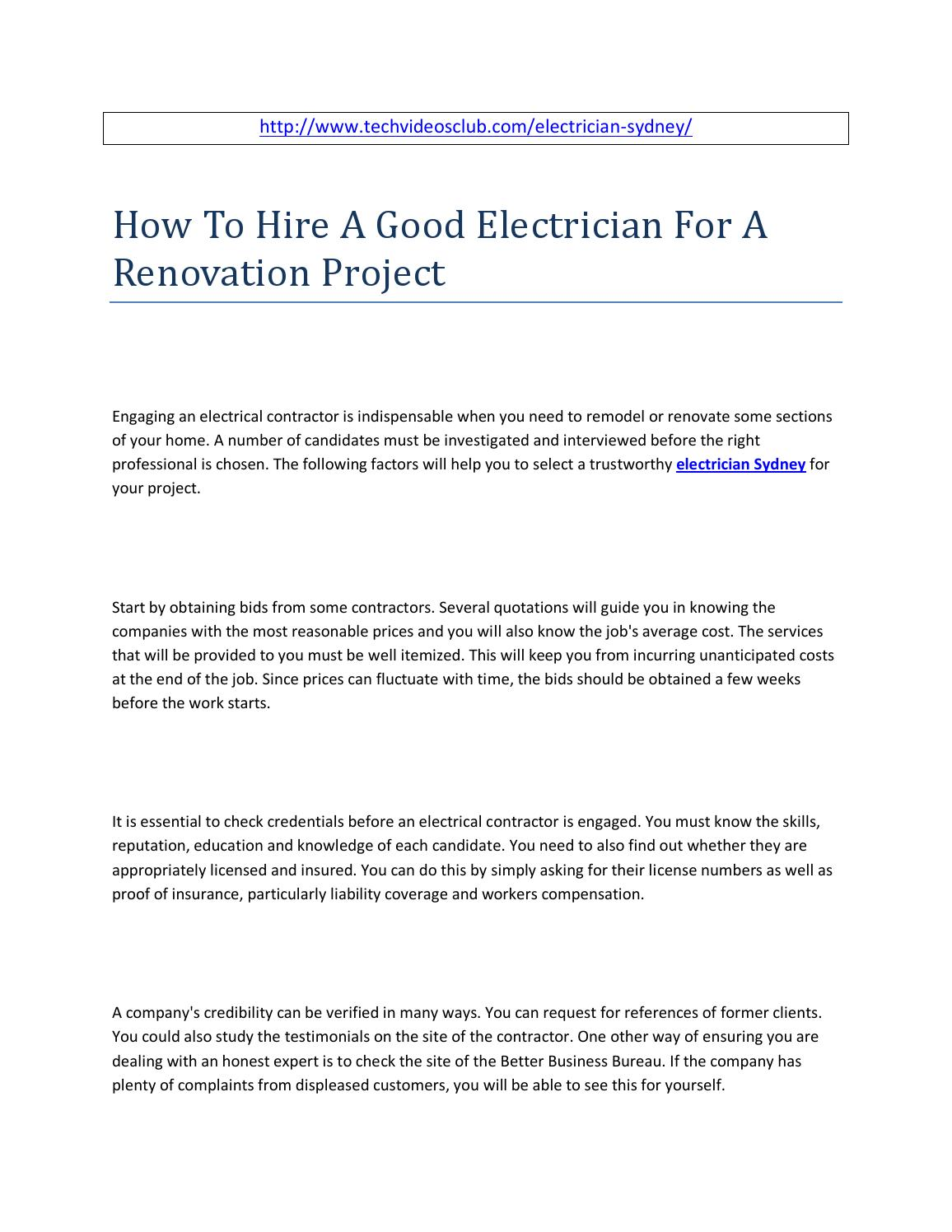 How to hire a good electrician for a renovation project by angelina