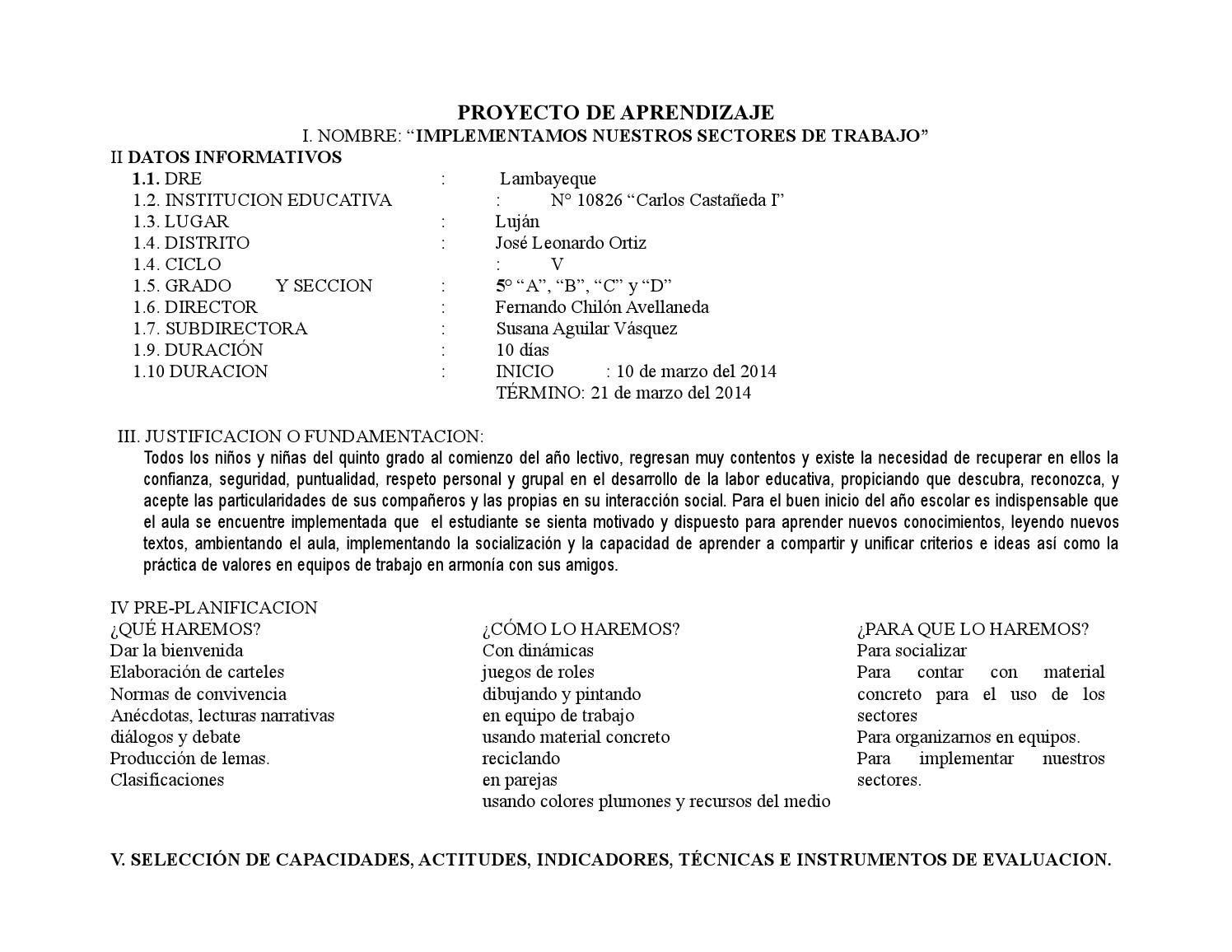 Proyecto de aprendizaje N°1 de Quinto Grado2014 by César Tafur Ruiz ...