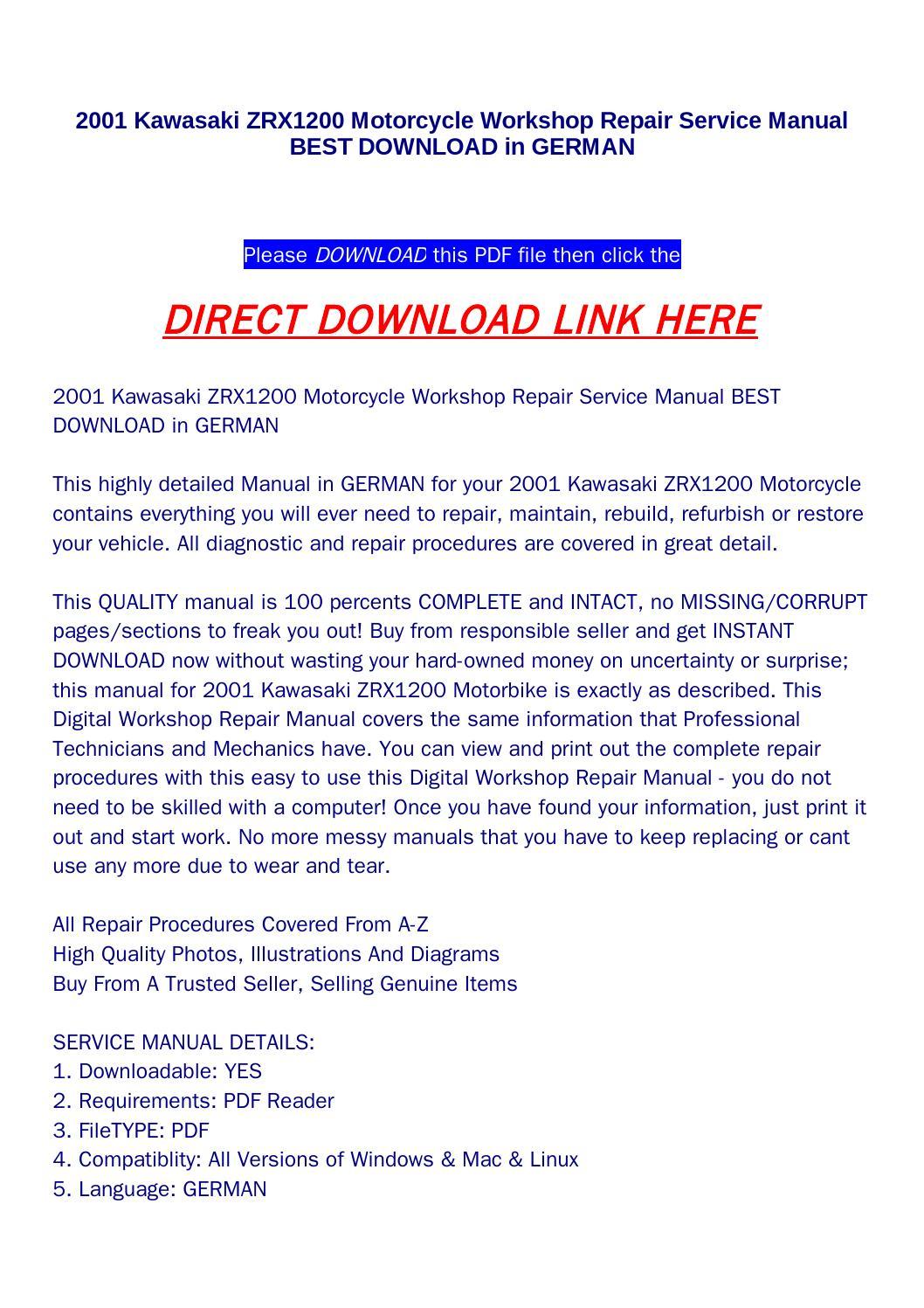 2001 kawasaki zrx1200 motorcycle workshop repair service manual best  download in german by jenny - issuu