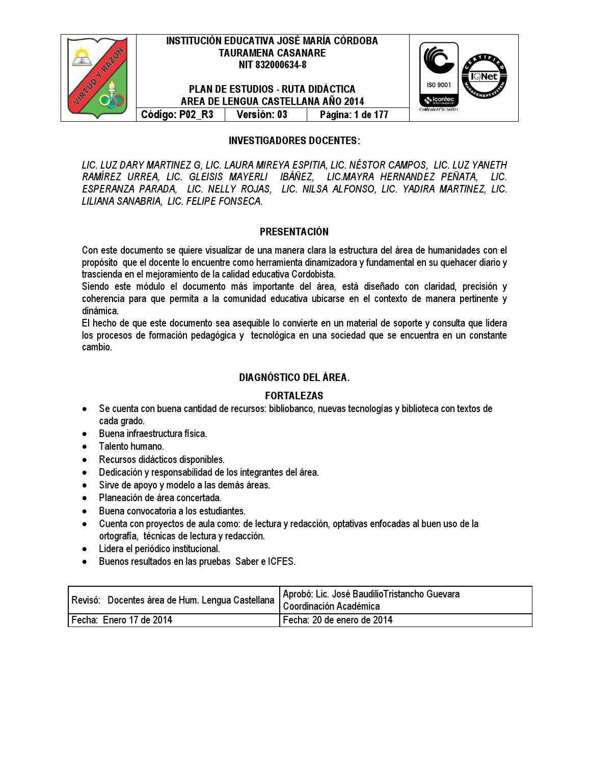 P02 r3 plan de estudios rea de hum lengua castellana 2014 by luiszaratez issuu - Anos luz castellana ...