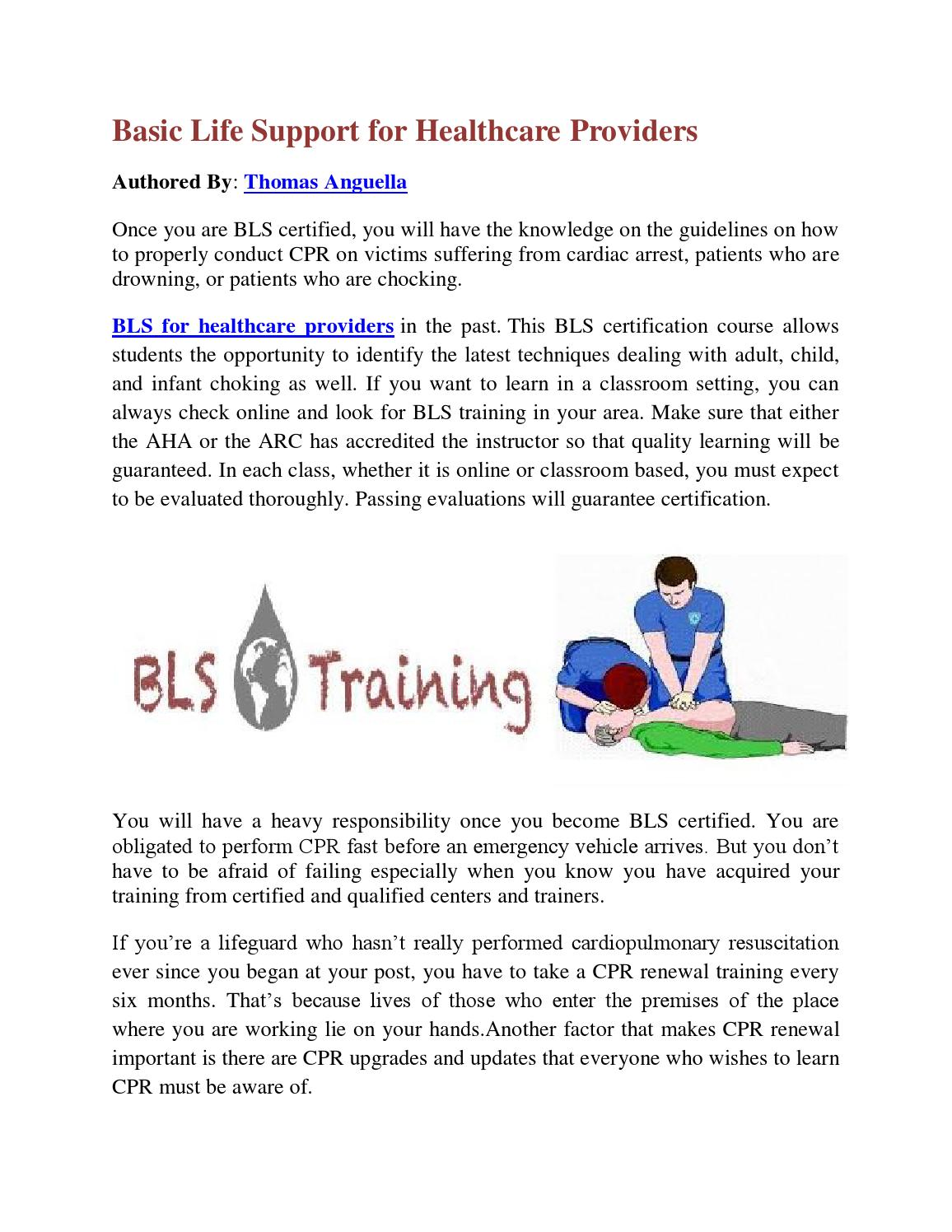 Basic Life Support For Healthcare Providers By Thomas Angeulla Issuu