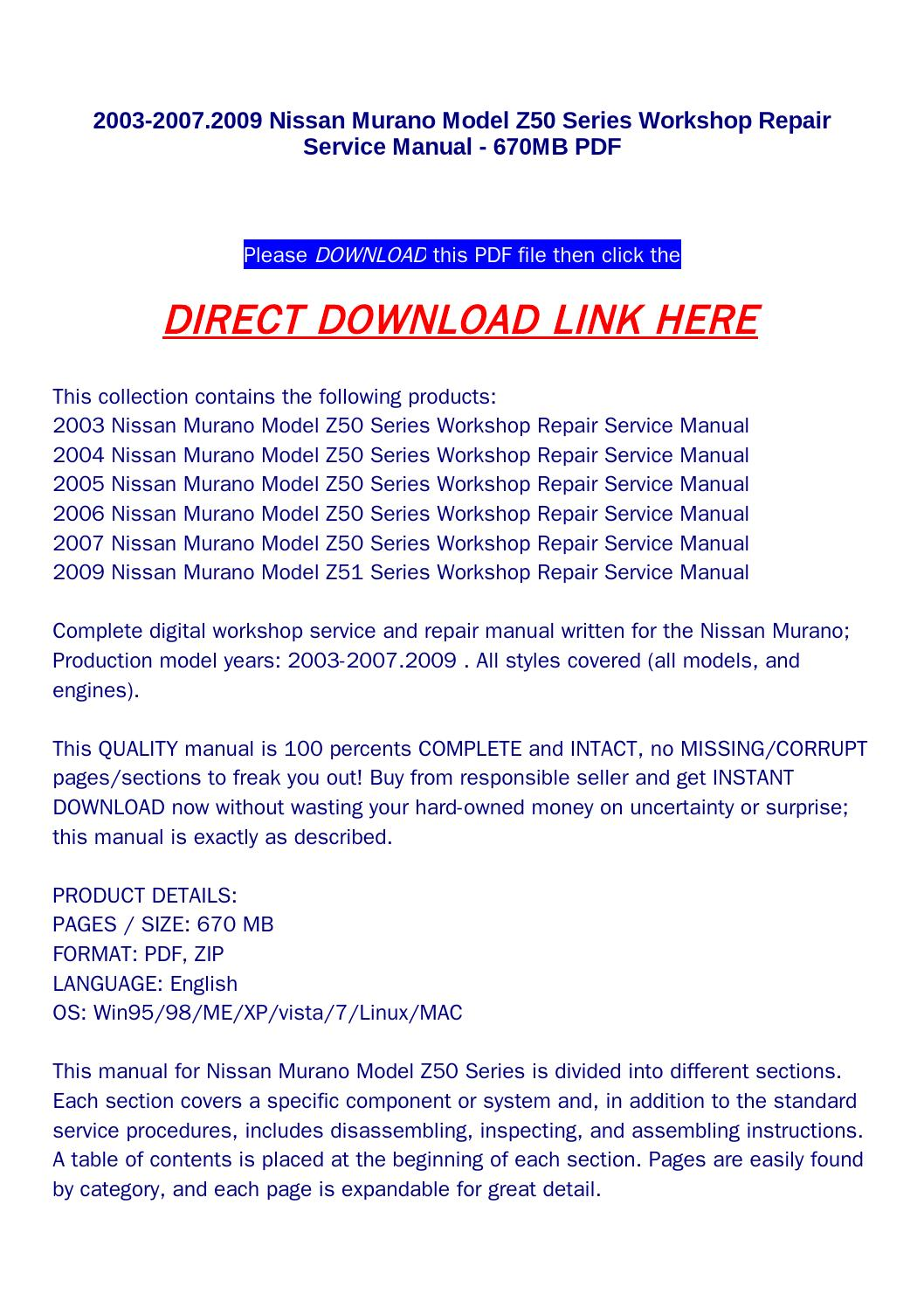 2003 2007 2009 nissan murano model z50 series workshop repair service manual  670mb pdf by jenny - issuu