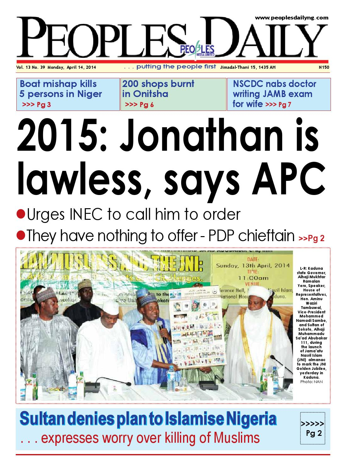 monday 14th april 2014 edition by peoples media limited