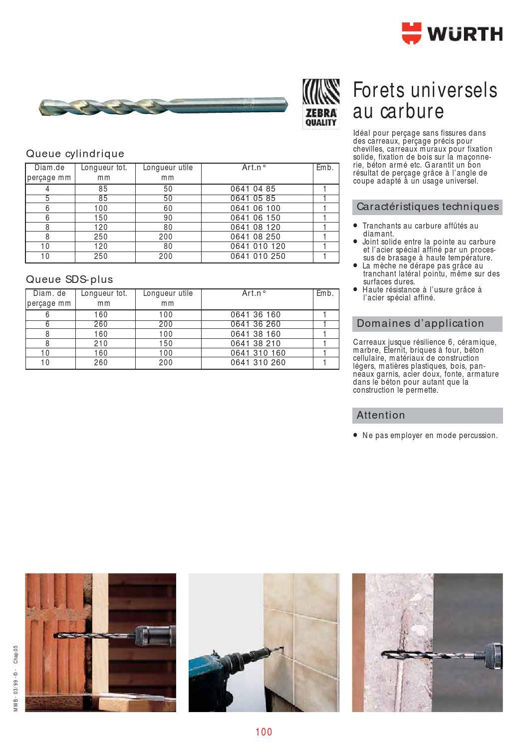 Bois M/étal C/éramique B/éton Mur S/&R 5 Forets pour Carrelage Forets h/élico/ïdales pour percussions /à tige cylindrique Set 5 Forets