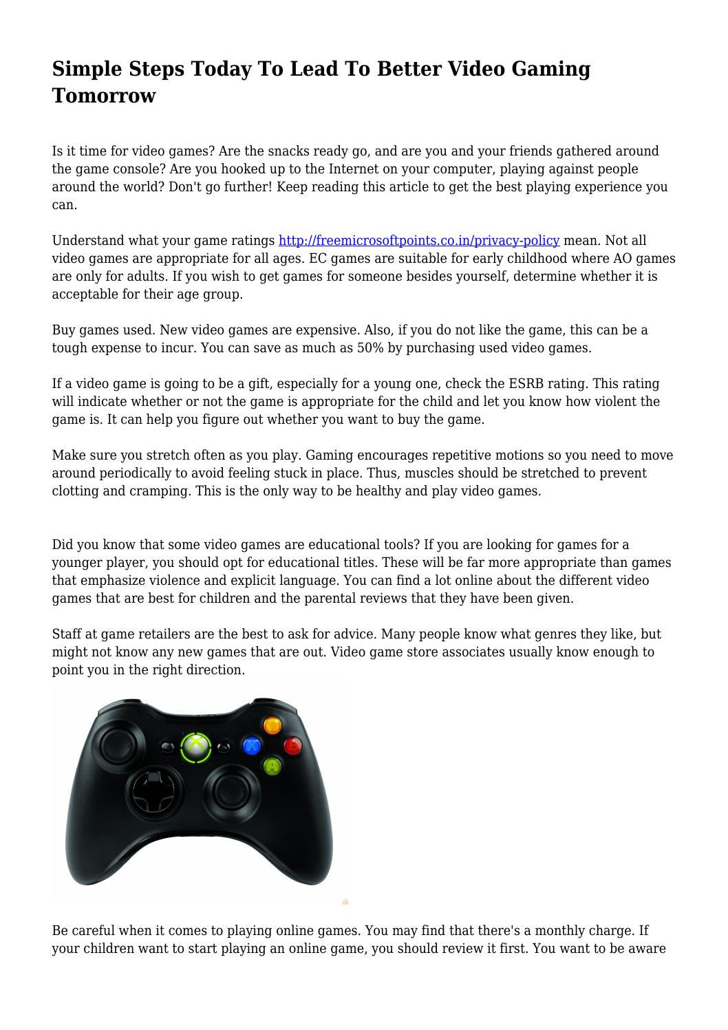Simple Steps Today To Lead To Better Video Gaming Tomorrow by ...