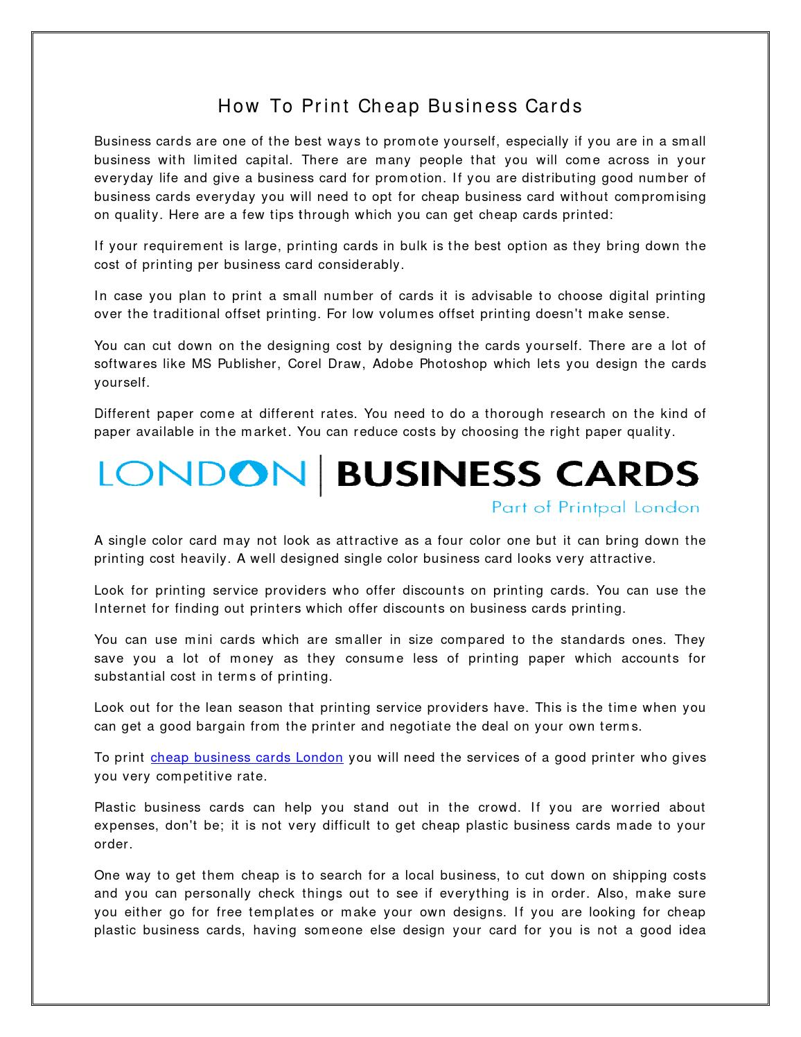 How To Print Cheap Business Cards By Charlie Stewart Issuu
