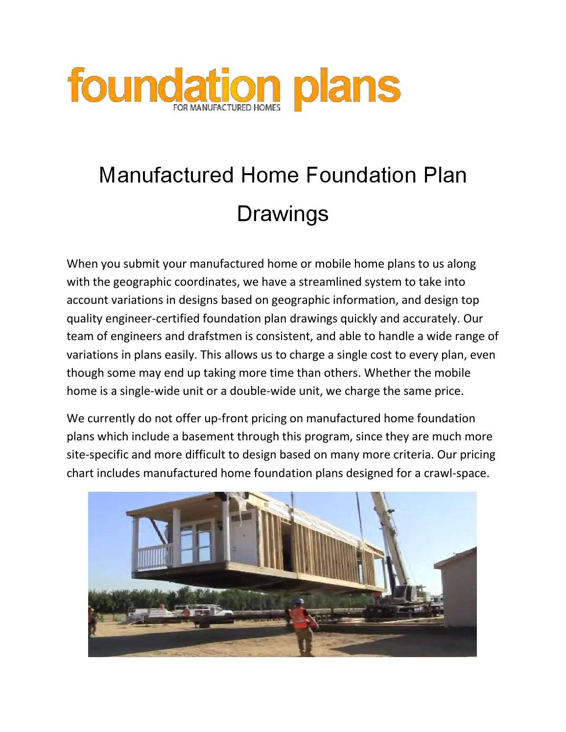 Manufactured home foundation plan drawings by foundation for Home foundation plan