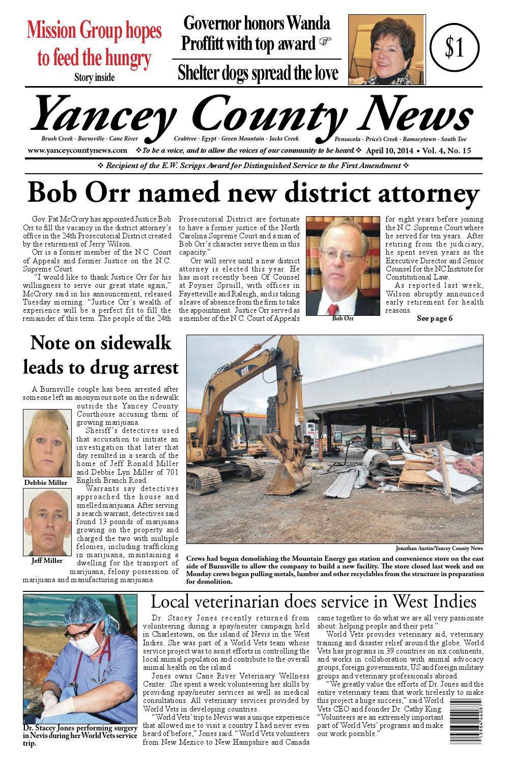 Yancey County News edition of April 10, 2014 by Yancey County News