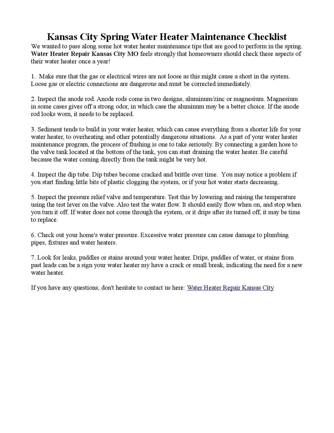 Kansas City Spring Water Heater Maintenance Checklist By