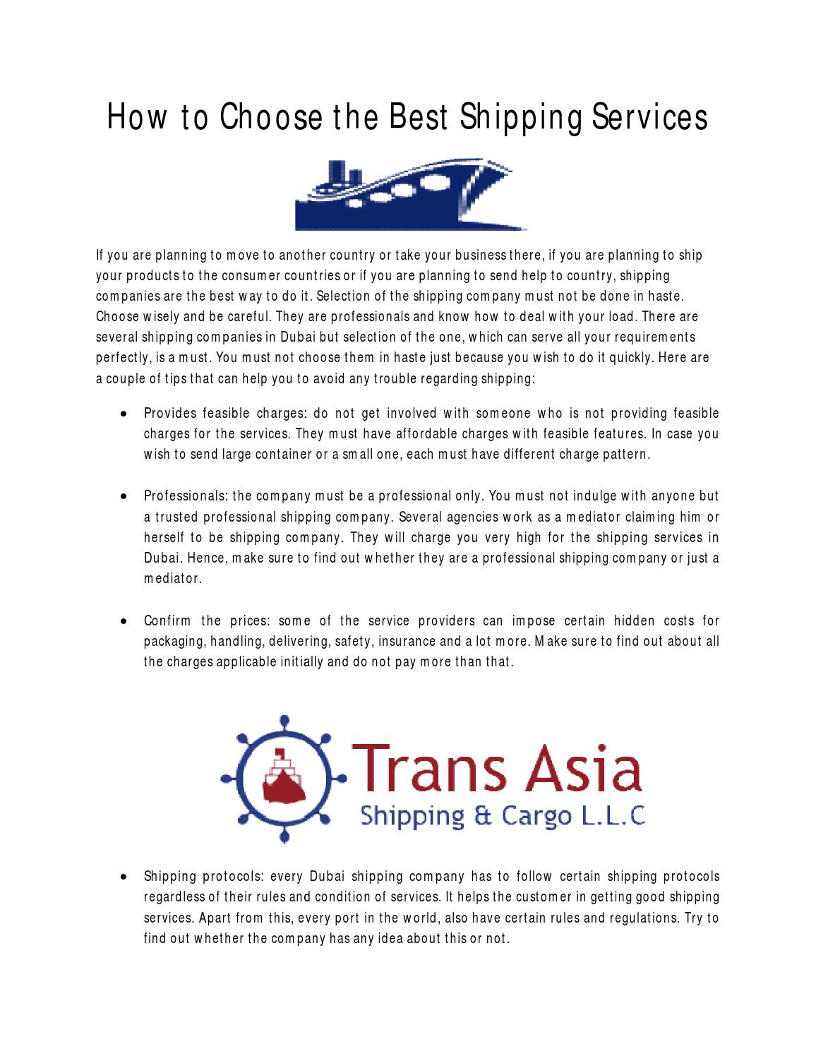 How to choose the best shipping services by Sabirah Tannous