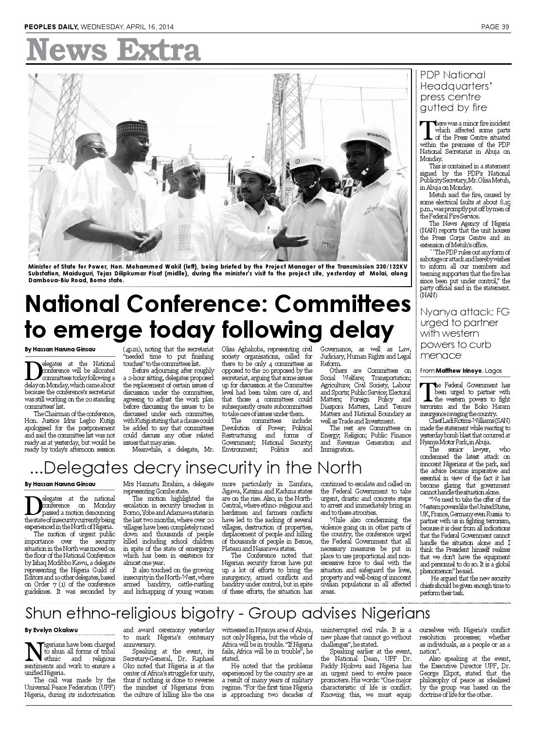 Wednesday 16th April, 2014 Edition by Peoples Media Limited