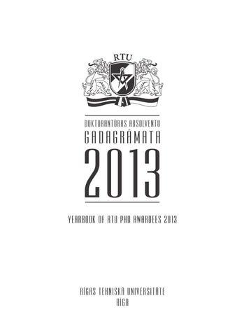 RTU Doktorantūras absolventu gadagrāmata 2013
