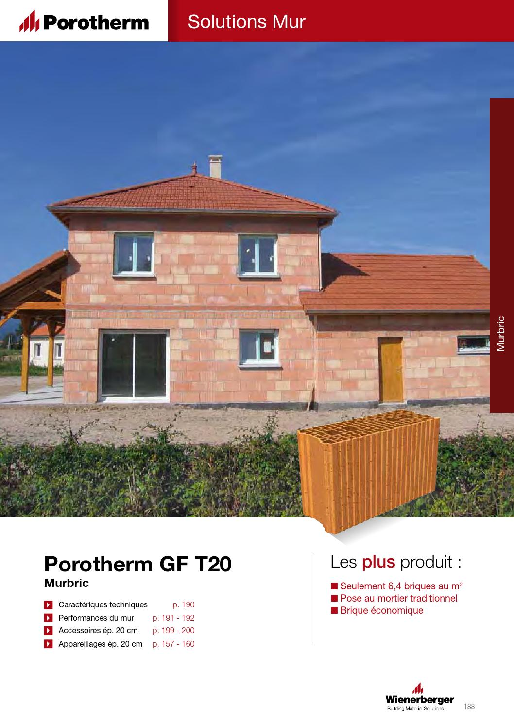 fiche technique porotherm gf t20 by wienerberger ag issuu