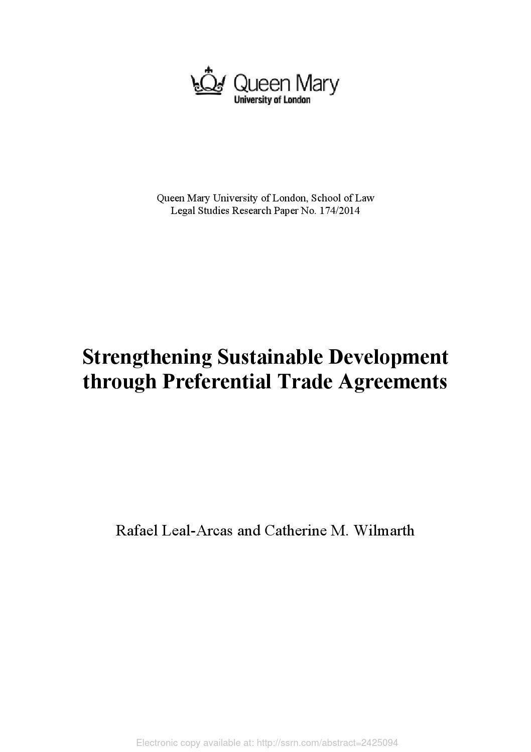 Strengthening Sustainable Development Through Preferential Trade
