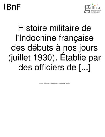 Histoire Militaire De L Indochine Francaise Tome 1 By President