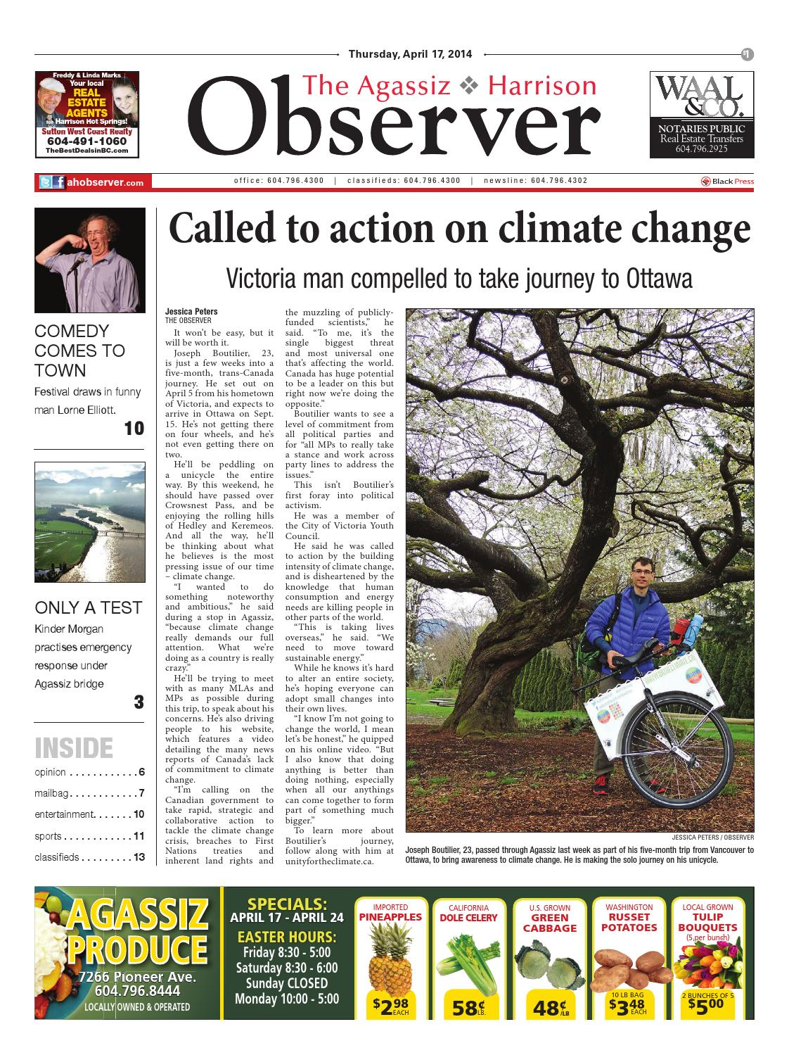 Agassiz Observer, April 17, 2014 by Black Press Media Group