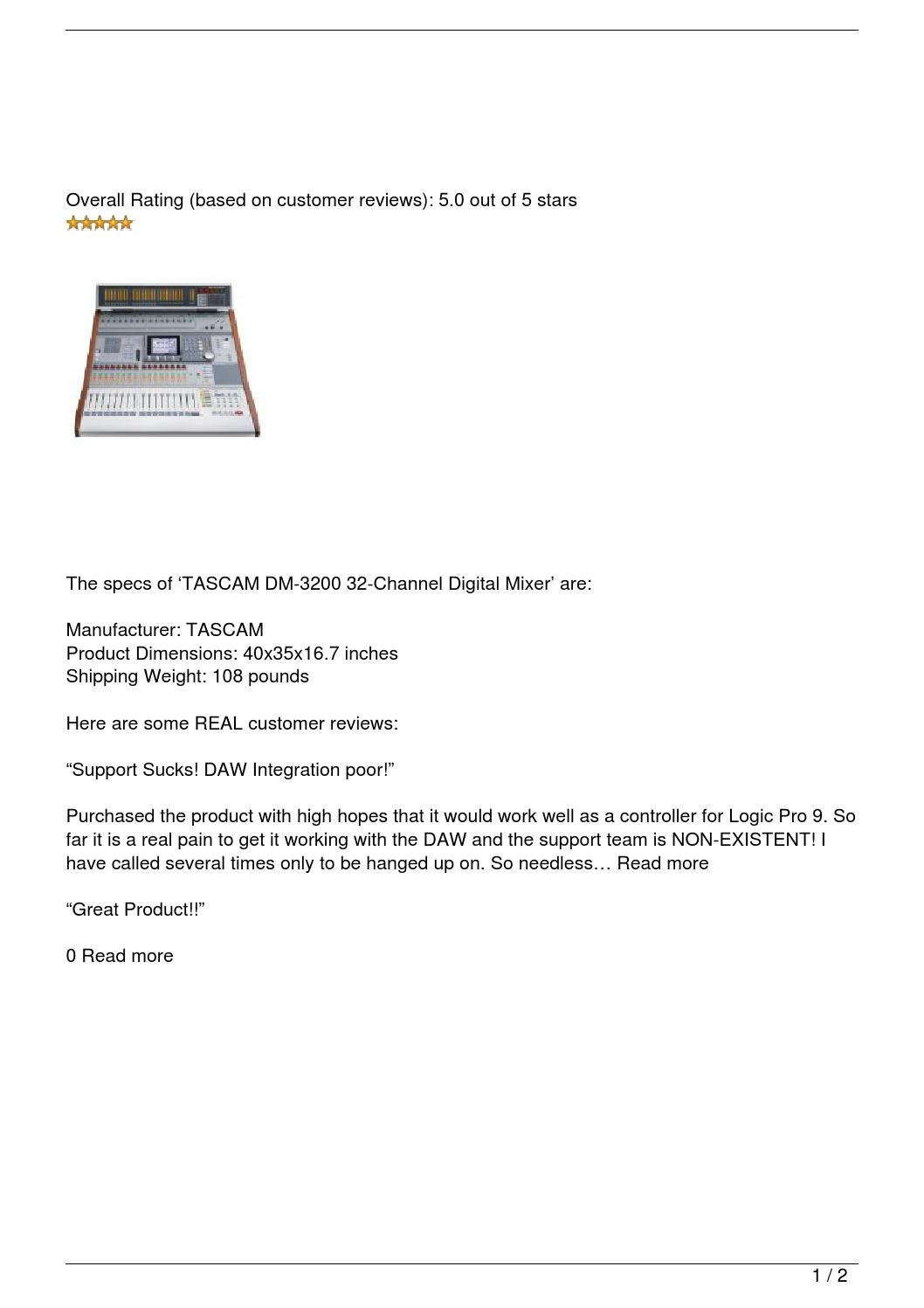 tascam dm 3200 32 channel digital mixer review by soundngear issuu. Black Bedroom Furniture Sets. Home Design Ideas
