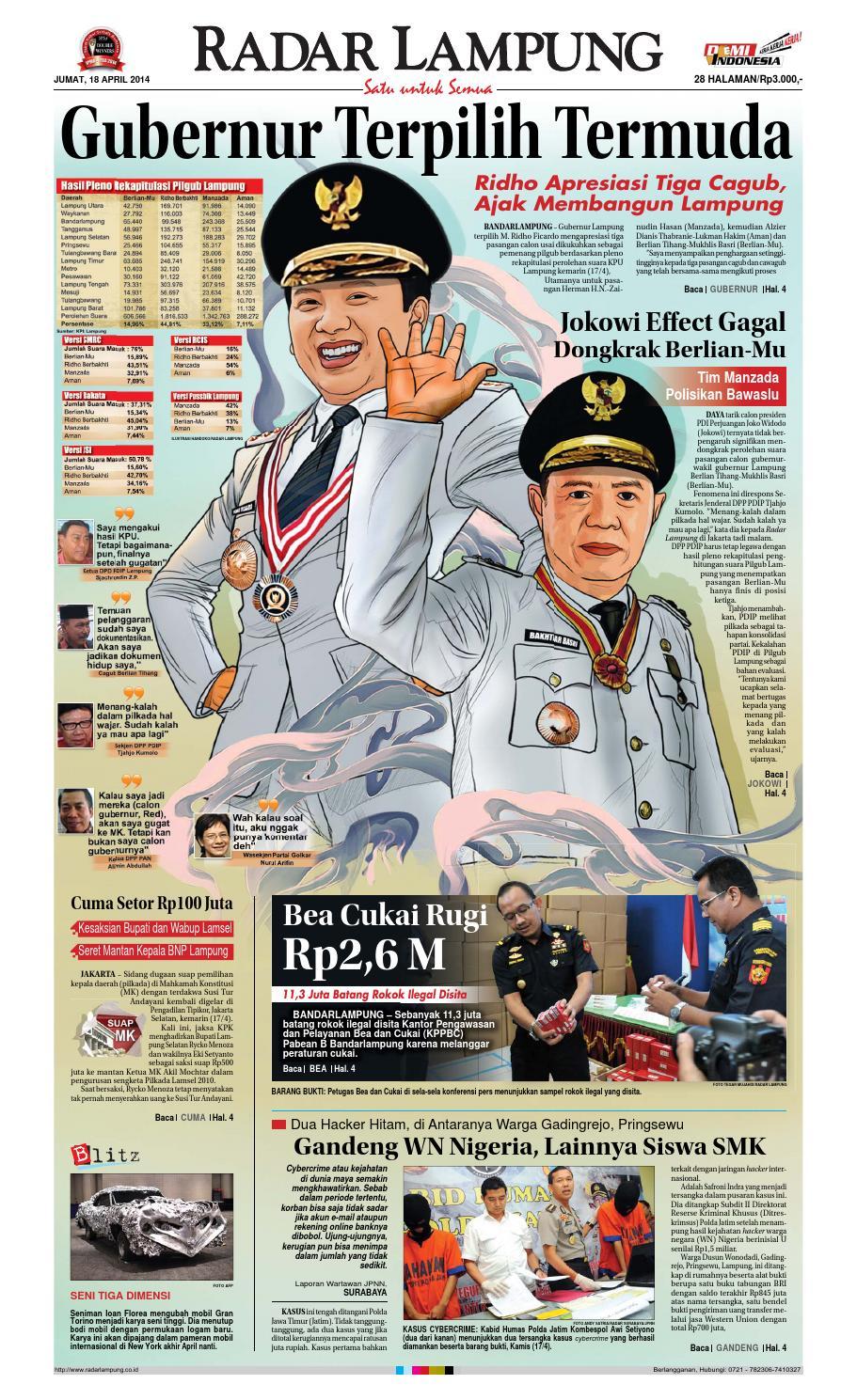 Radar Lampung Jumat 18 April 2014 By Ayep Kancee Issuu Tcash Vaganza 37 Kran Tembok Kuningan Tr 5j F