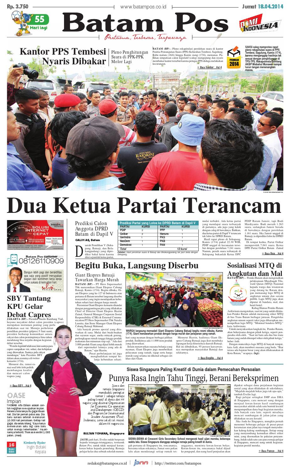 18 April 2014 By Batampos Newspaper Issuu Rejeki Anak Soleh 3 Voucher Carrefour Rp 200000