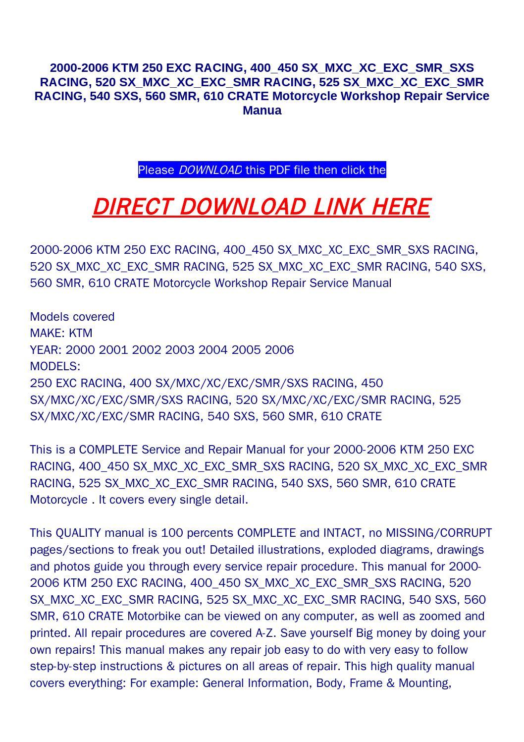 2000 2006 ktm 250 exc racing, 400 450 sx mxc xc exc smr sxs racing, 520 sx  mxc xc exc smr racing, 52 by food - issuu