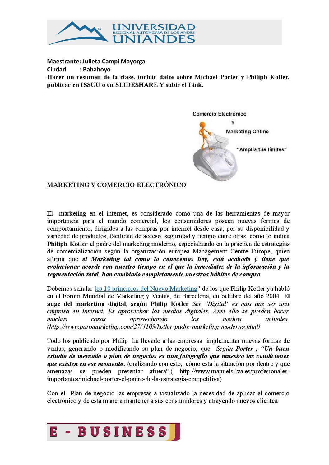 Resumen marketing y comercio electronico by Julieta Campi - issuu