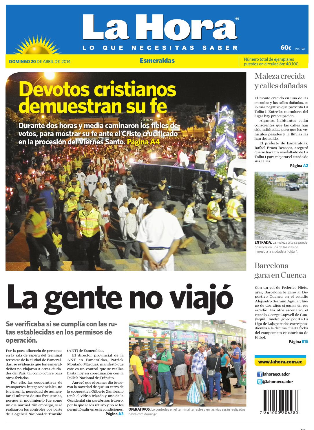 Diario La Hora Esmeraldas 20 de abril del 2014 by Diario La Hora Ecuador -  issuu df06beb90fd9e