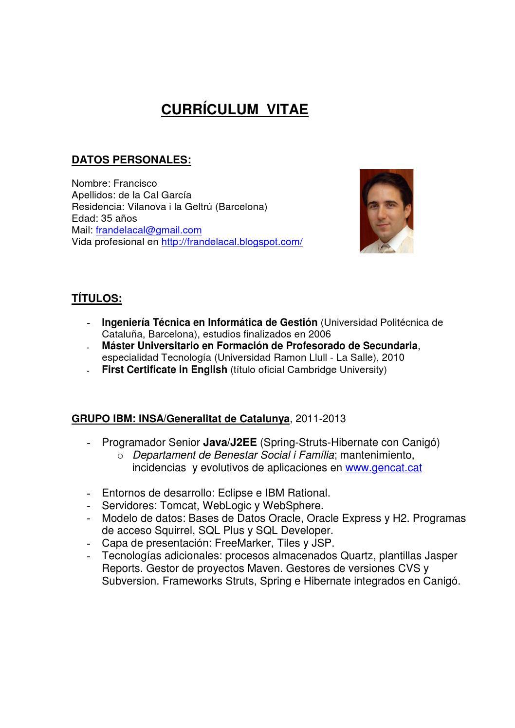 Asombroso Plantilla De Curriculum Vitae Desarrollador Java Modelo ...