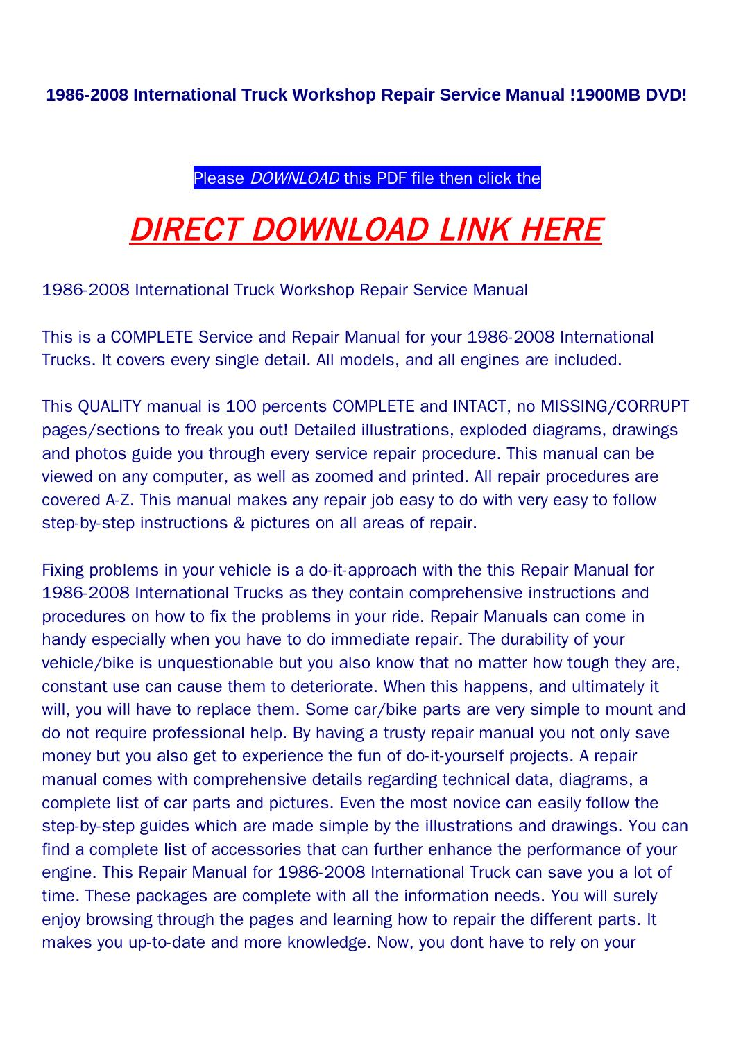 1986 2008 International Truck Workshop Repair Service Manual 1900mb 2006 8600 Wiring Diagram Dvd By Food Issuu
