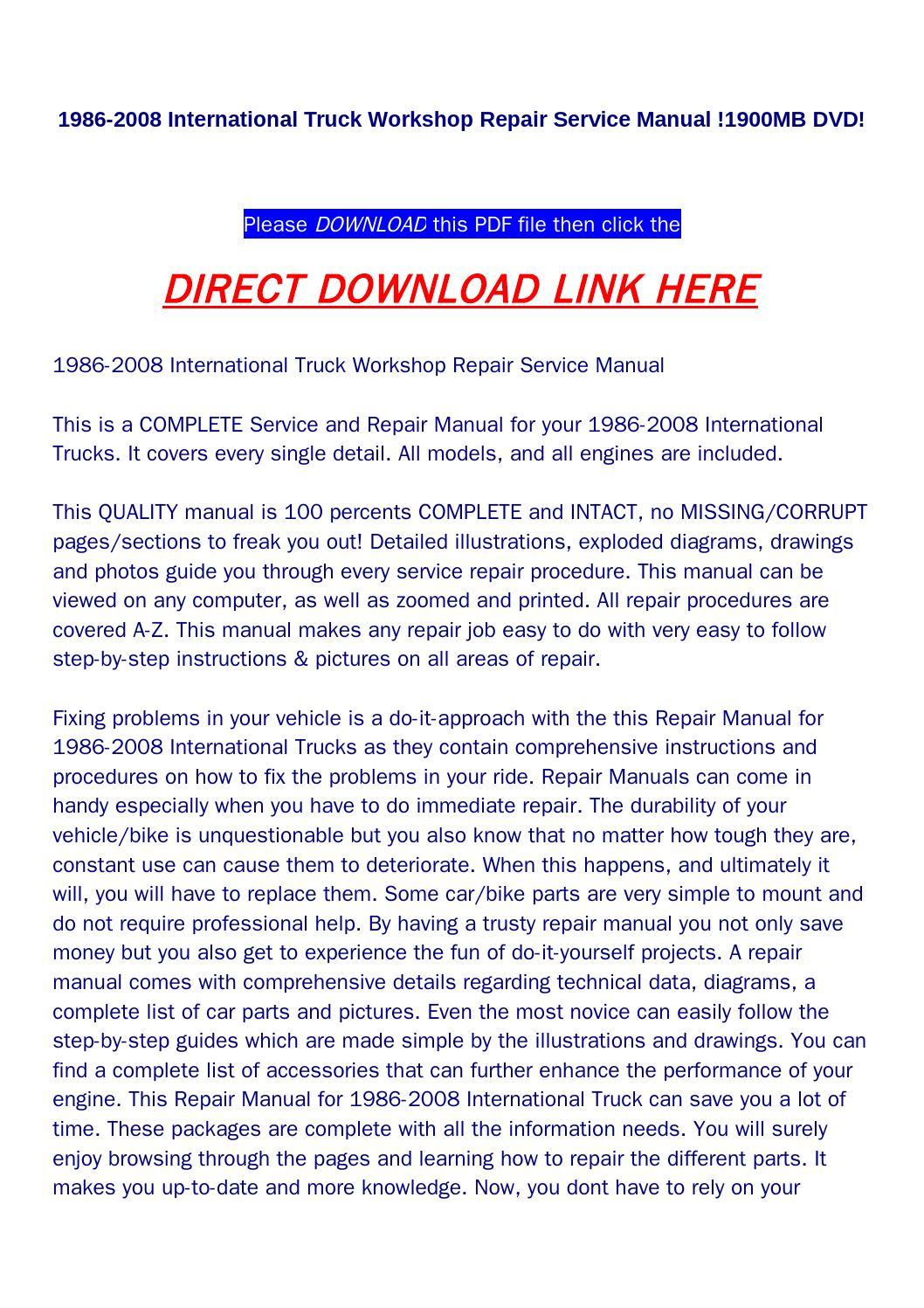 1986 2008 International Truck Workshop Repair Service Manual 1900mb 2006 8600 Wiring Diagram Dvd By Food Issuu
