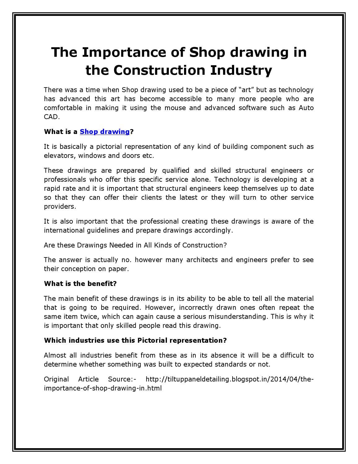 The importance of shop drawing in the construction industry