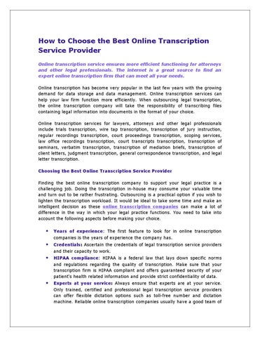 How to Choose the Best Online Transcription Service Provider