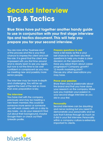 2nd Interview Tips Tactics By Blue Skies Issuu