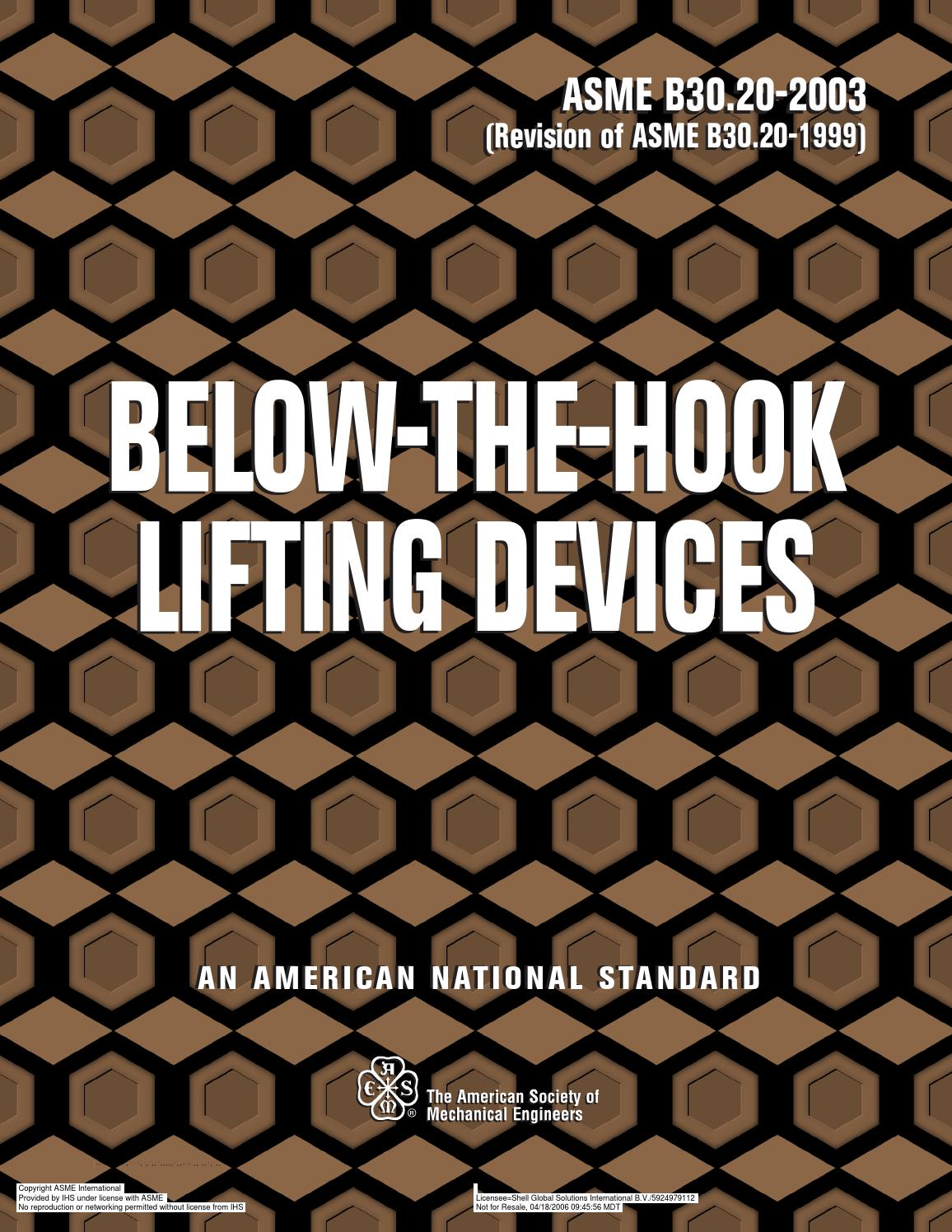Asme b 30 20 below the hook lifting devices by roland sandoval - issuu