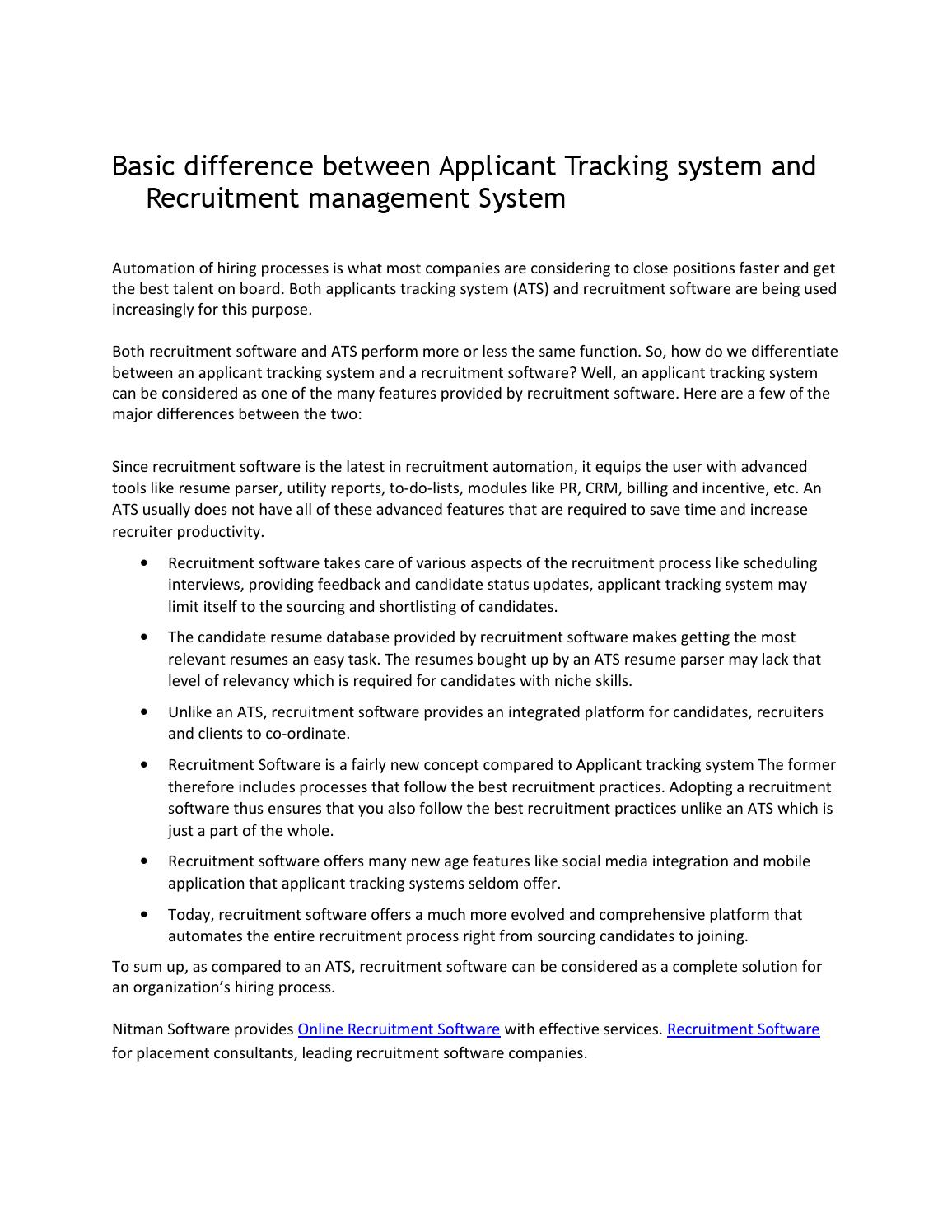 basic difference between applicant tracking system and