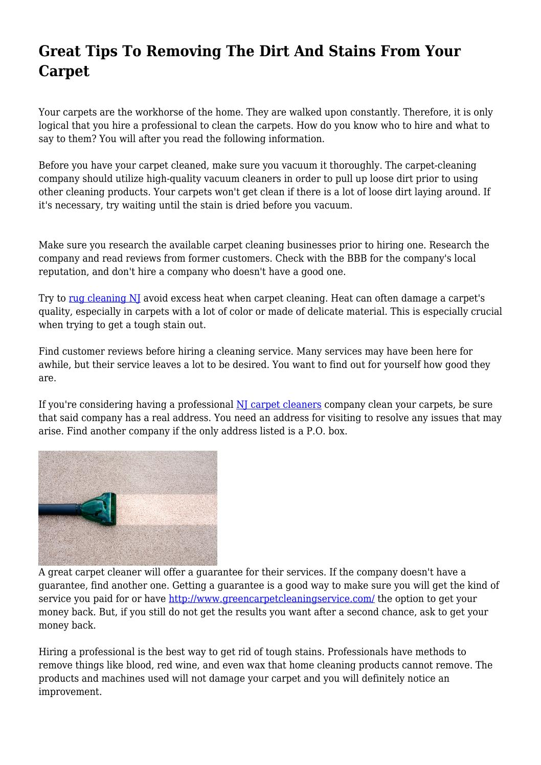 Great Tips To Removing The Dirt And Stains From Your Carpet by helpfulincubus252 - issuu