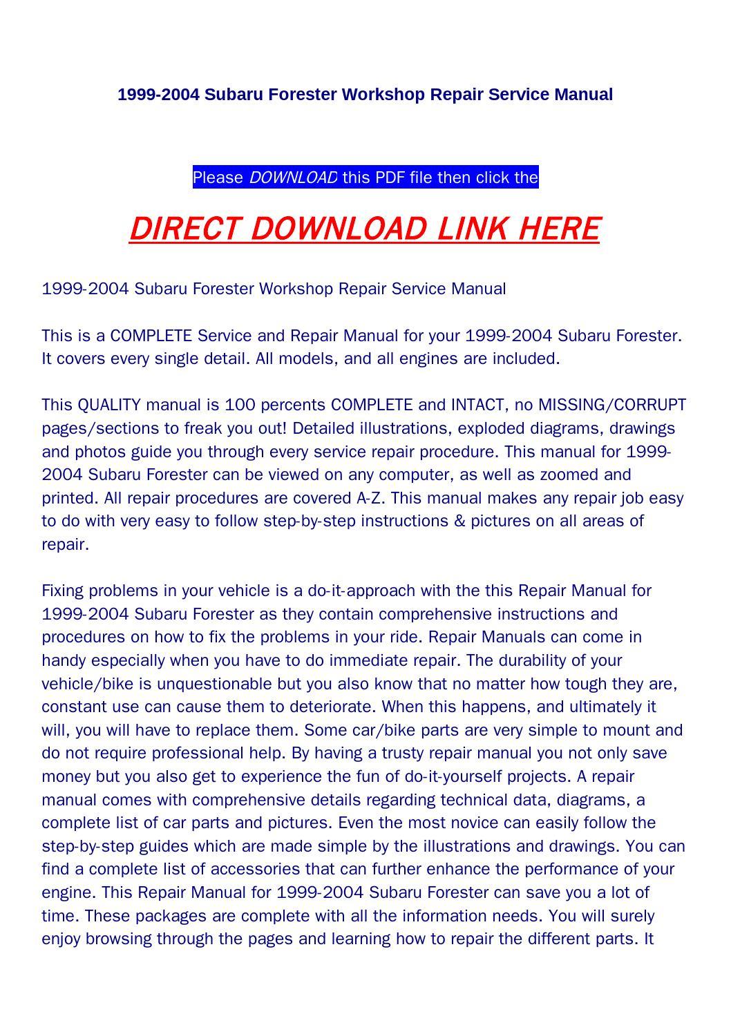 1999 subaru forester service manual