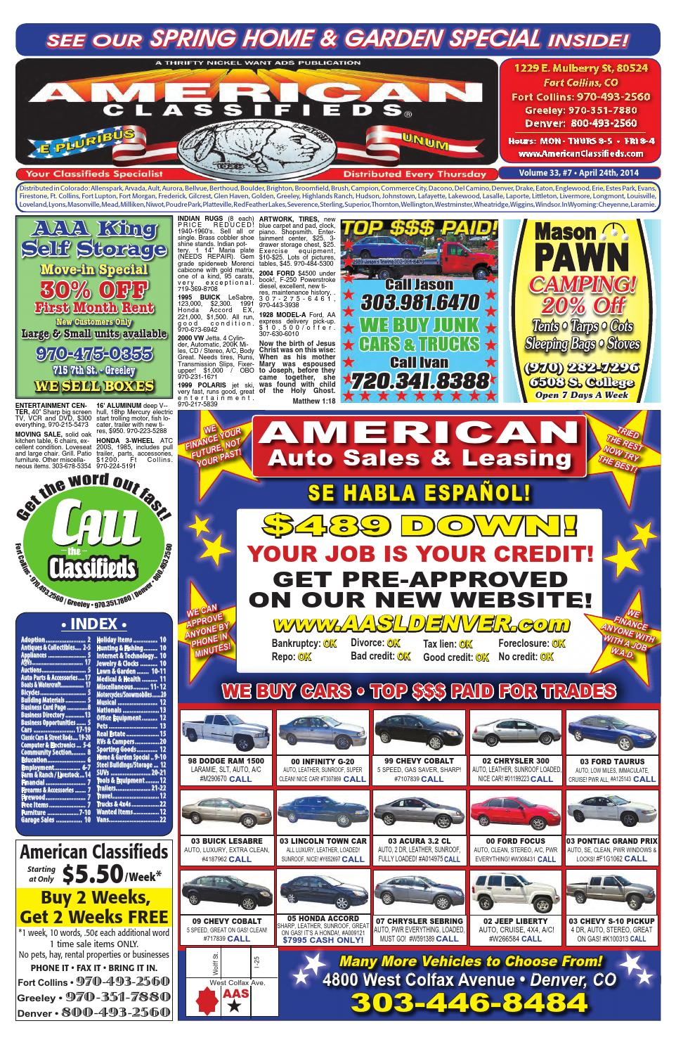 American Classifieds Front Range 4-24-14 by Thrifty Nickel