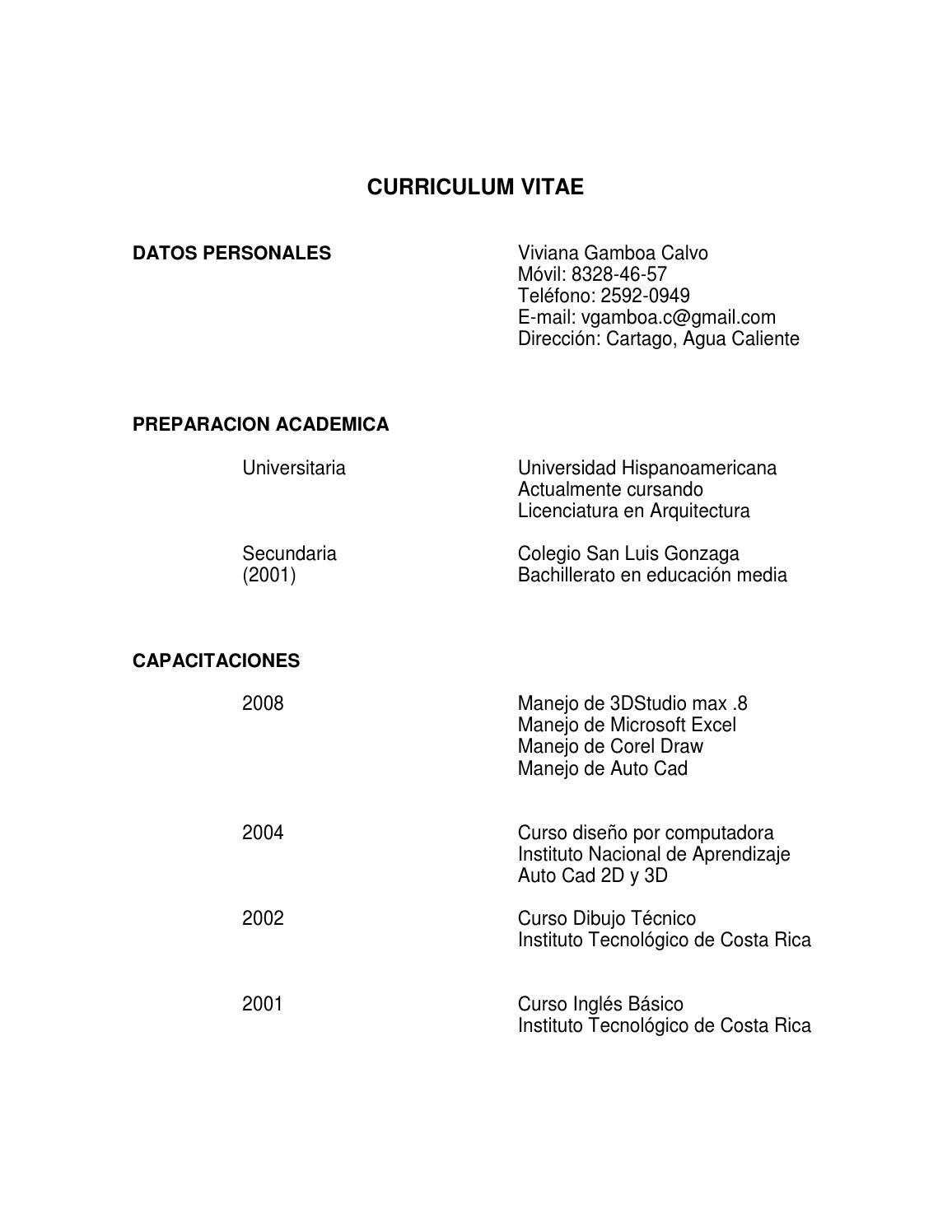 Curriculum Vitae By Viviana Gamboa Calvo Issuu