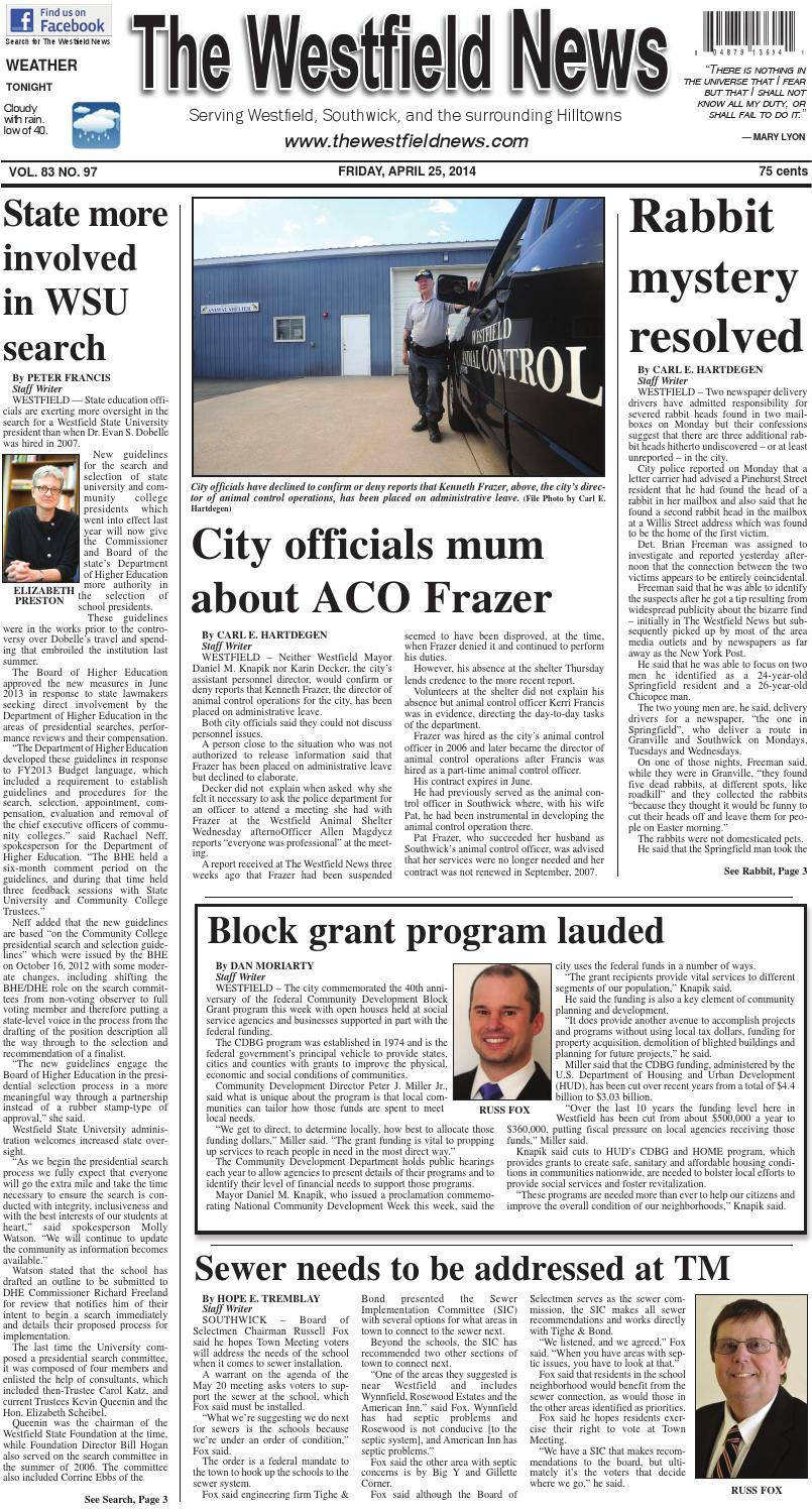 Friday, April 25, 2014 by The Westfield News - issuu