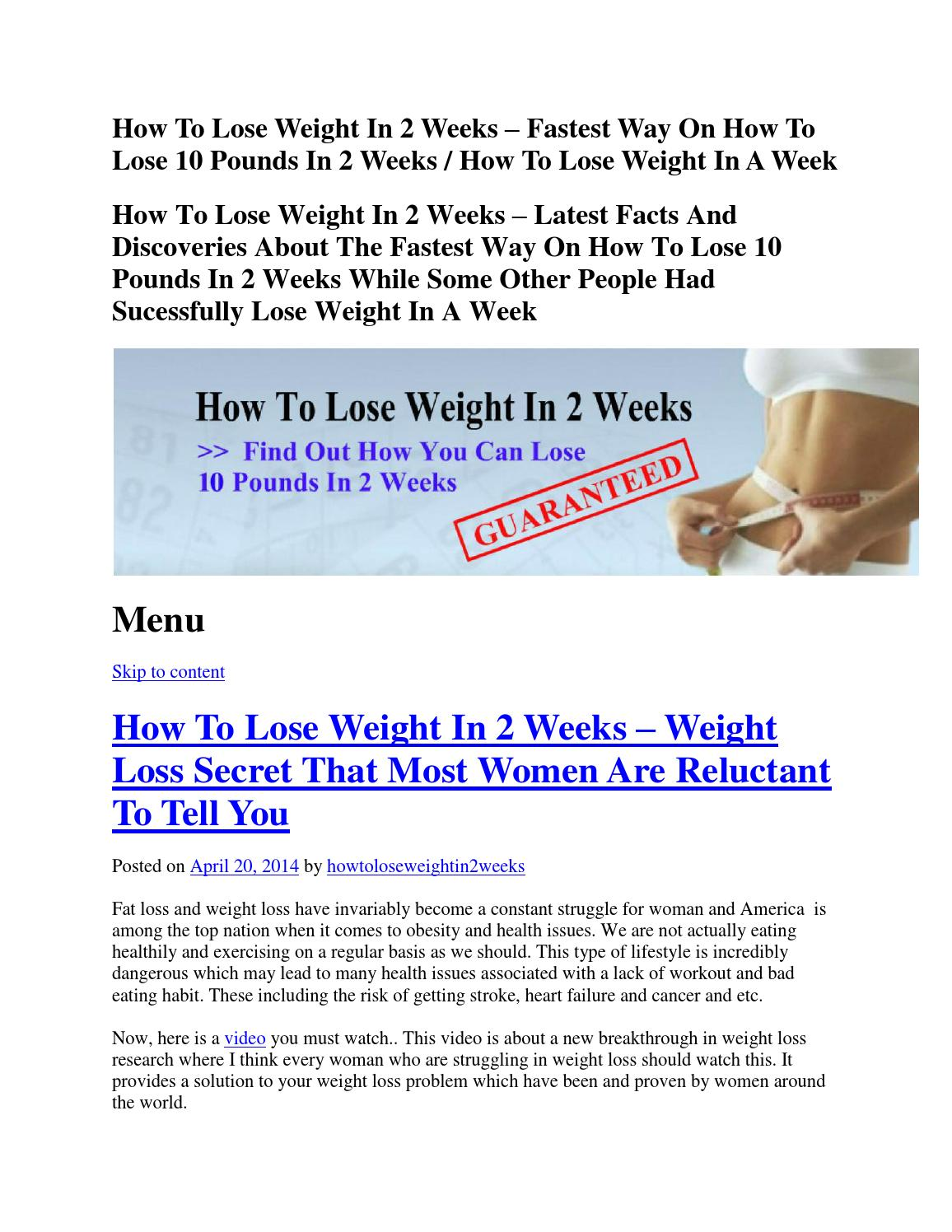 How To Lose Weight In 2 Weeks By Musviglose Issuu