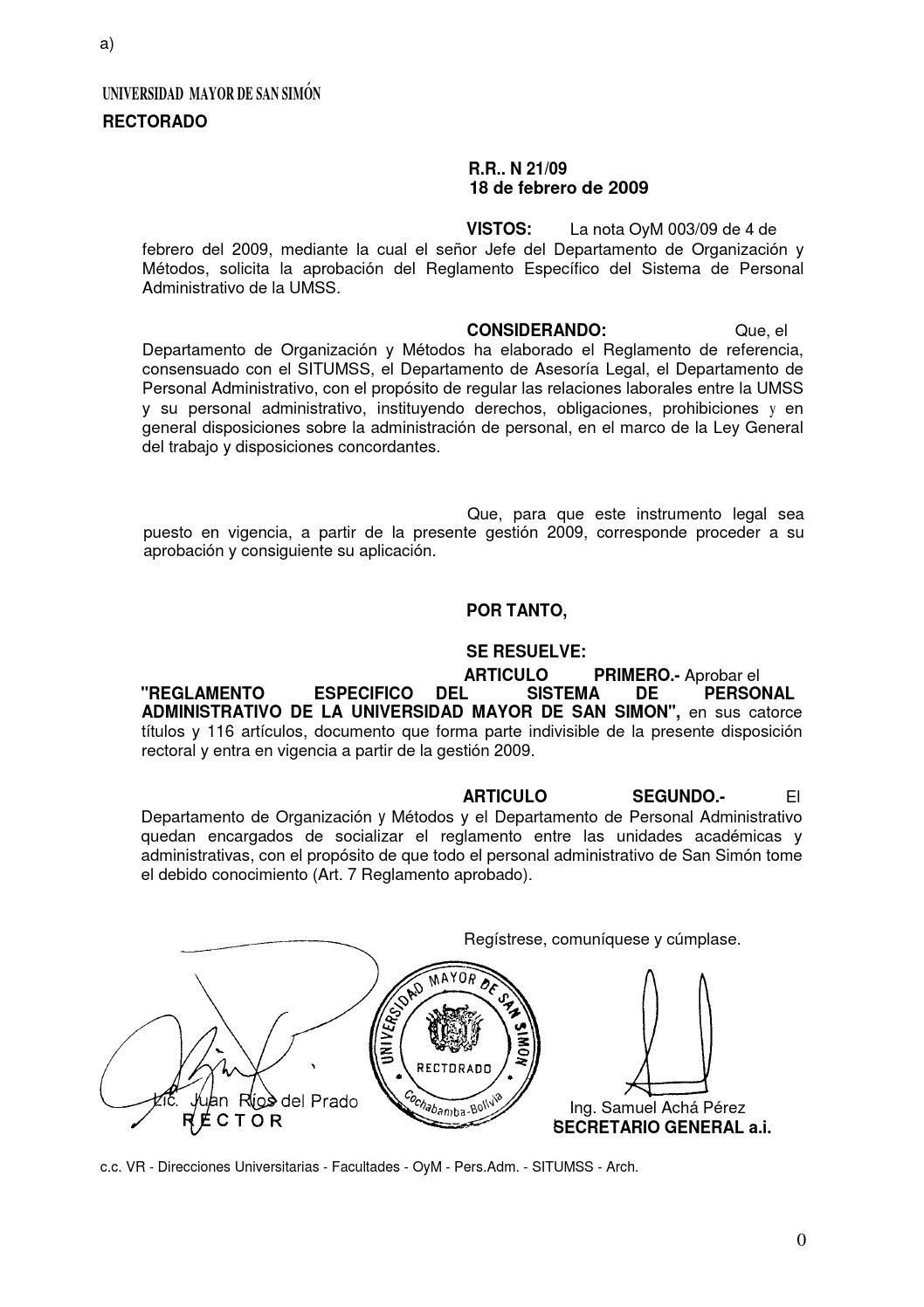 UMSS - Reglamento especifico del sistema de personal administrativo ...
