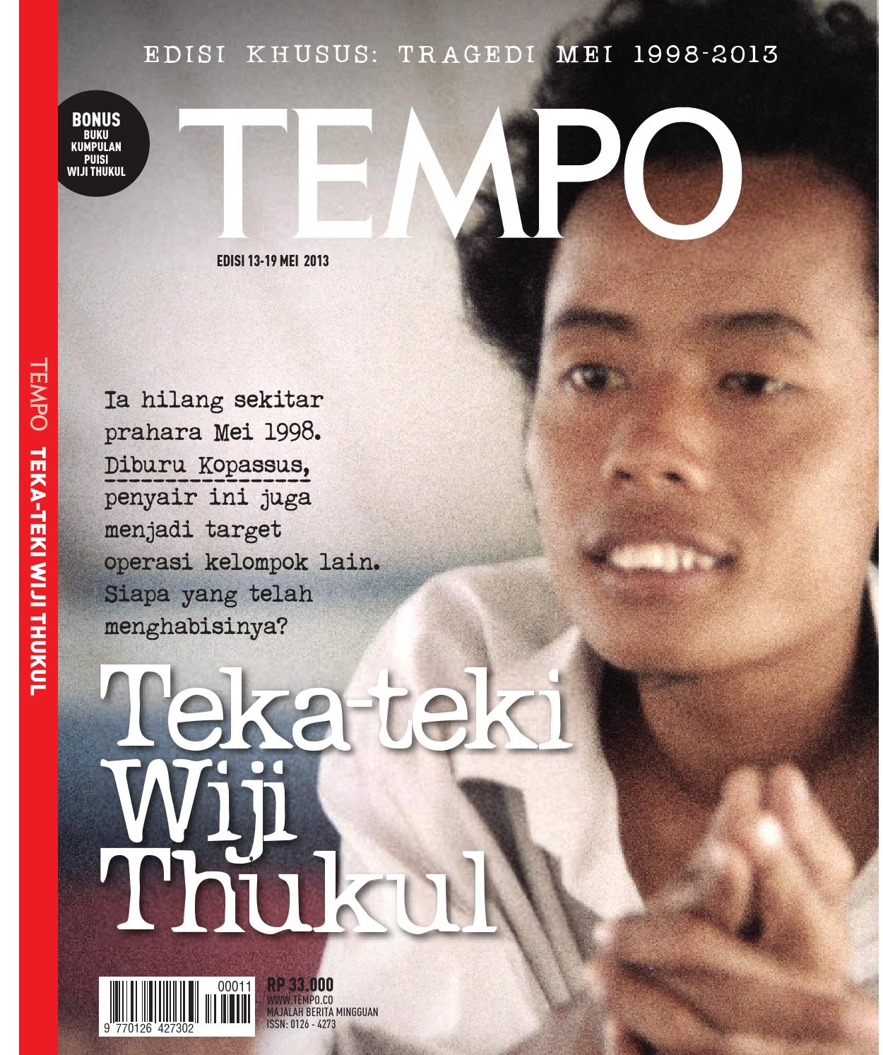 Tempo Edisi Khusus Wiji Thukul 13 19 Mei 2013 By Iwan Library Issuu
