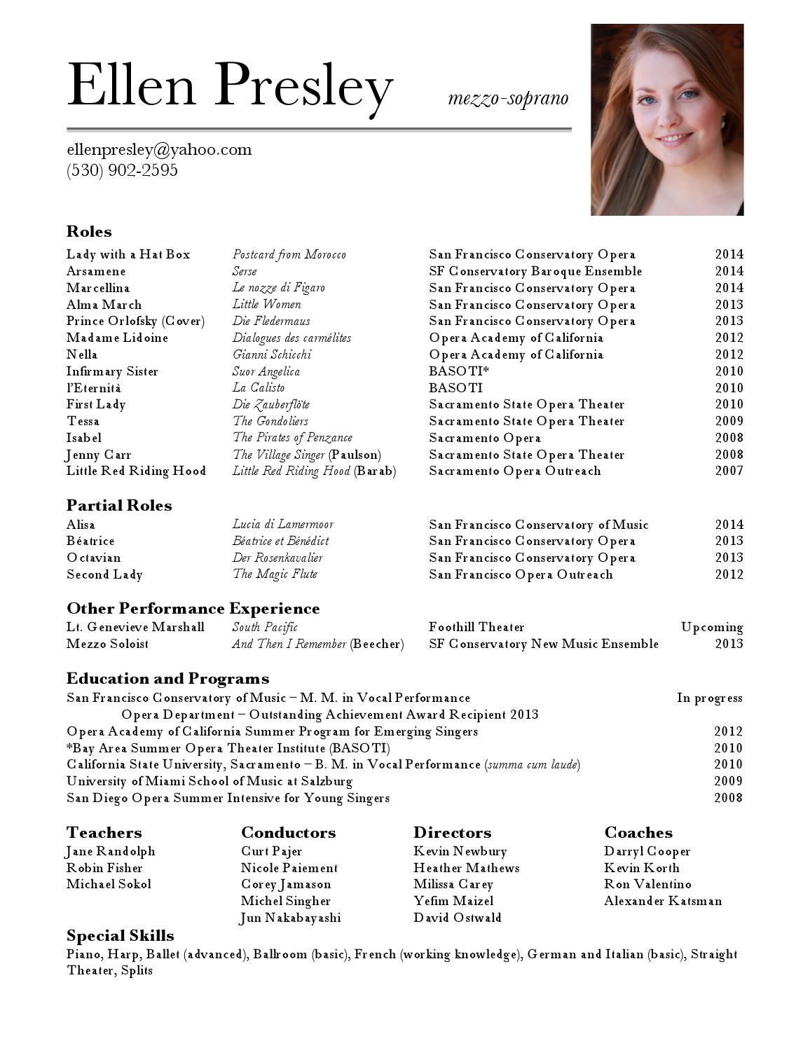 ellen presley opera resume by ellen presley