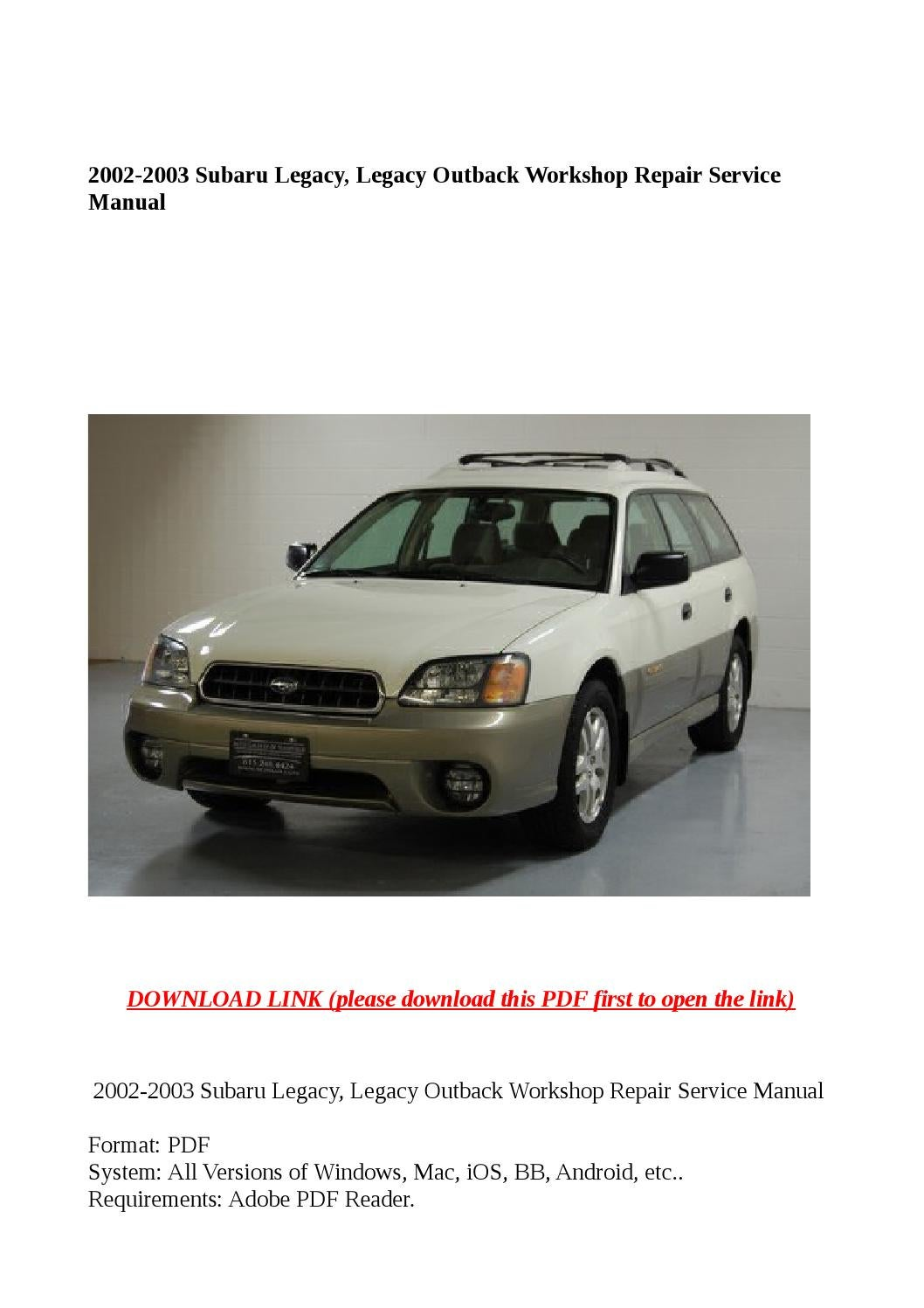 Subaru Impreza Service Repair Manual 2002 2006 Download Auto 1979 Vespa Px200 Fuse Box Chilton Car Manuals Free